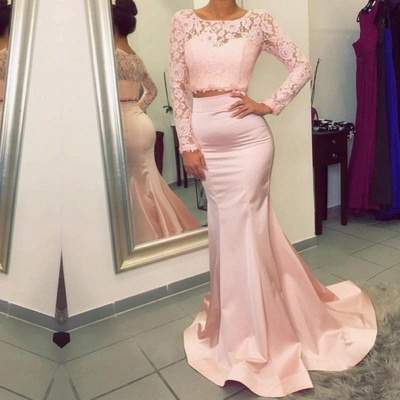 Gorgeous Long Sleeve Lace Prom Dress Two Pieces Mermaid Evening Gowns_3