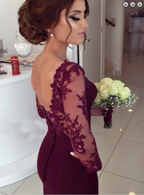 Gorgeous Long Sleeves Lace Appliques Evening Dress 2020 Mermaid Floor-Length_3