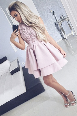 Lovely Pink Homecoming Dresses | 2020 Mini Layers Lace Short Dresses_3