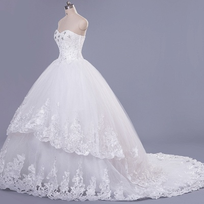 Modern Sweetheart Sleeveless Tulle Lace Wedding Dress With Beadings Lace-up_1