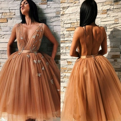 Chic V-Neck Sleeveless Homecoming Dresses | 2020 Tulle Short Prom Gowns BC0691_4