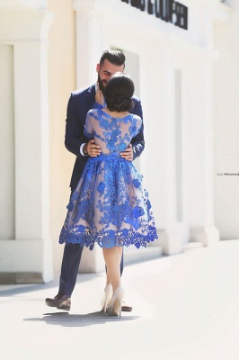 Delicate Ruyal Blue Appliques Prom Dress 2020 Long Sleeve_3