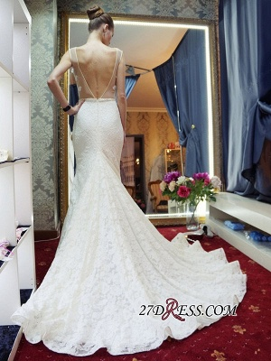 Lace Sleeveless Gorgeous Zipper Mermaid Backless Wedding Dress_2