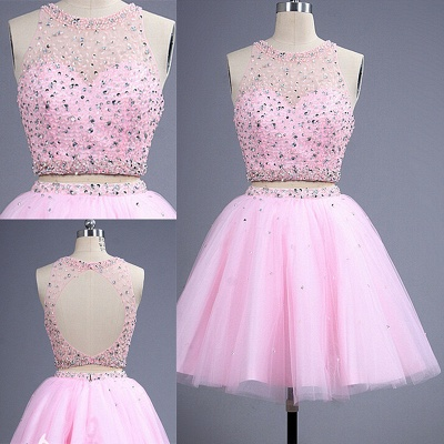 Hot Sale Pink two Pieces Short Prom Dress Beadings Tulle Homecoming Dress_2