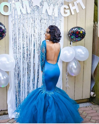 Gorgeous Crew Long Sleeves Prom Dress | Mermaid Appliques Evening Gowns With Tulle_4
