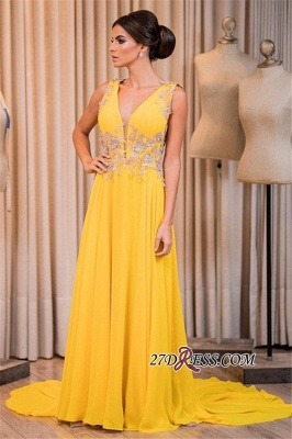 Yellow prom dress, 2020 long chiffon evening gowns_1