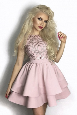 Lovely Pink Homecoming Dresses | 2020 Mini Layers Lace Short Dresses_1