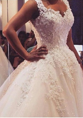 Delicate V-neck Tulle Lace Appliques Wedding Dress Ball Gown_1