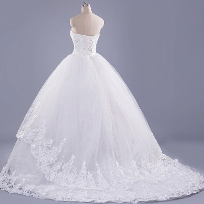 Modern Sweetheart Sleeveless Tulle Lace Wedding Dress With Beadings Lace-up_3