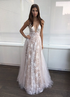 2020 A-line Layers Sexy Lace-Appliques Deep-V-Neck Prom Dresses_3