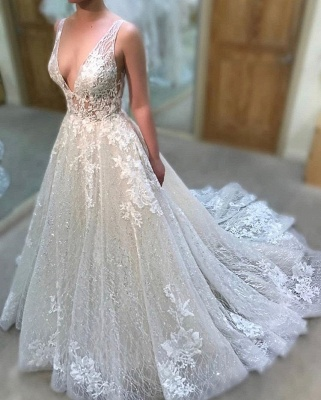 Glamorous V-Neck Sleeve Lace Wedding Dress | 2020 Sequins Long Bridal Gowns_2