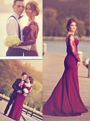 Gorgeous Long Sleeves Lace Appliques Evening Dress 2020 Mermaid Floor-Length_2