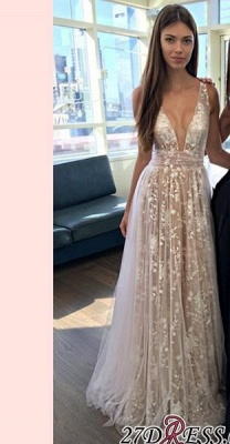 2020 A-line Layers Sexy Lace-Appliques Deep-V-Neck Prom Dresses_2