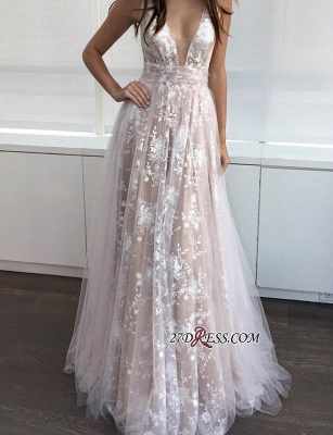 2020 A-line Layers Sexy Lace-Appliques Deep-V-Neck Prom Dresses_1