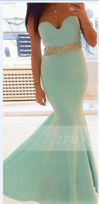 Satin Sexy Evening Gowns with Green Prom 2020 Sweetheart Sleeveless Beading Sash Mermaid Charming Gowns_1