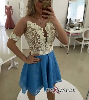 Lace Short-Sleeve Gorgeous Pearls Homecoming Dress_3