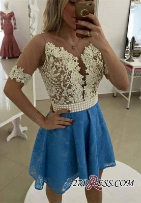 Lace Short-Sleeve Gorgeous Pearls Homecoming Dress_1