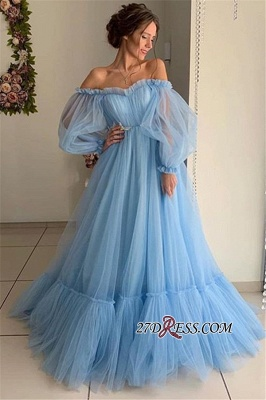 Gorgeous Off-The-Shoulder A-Line Prom Dress | Princess Sheer-Tulle Long-Sleeves Prom Gown_2