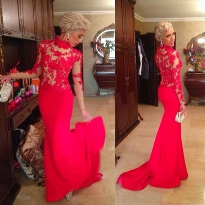 Red High Neck Mermaid Evening Dresses Long Sleeves Appliques Prom Dresses_2