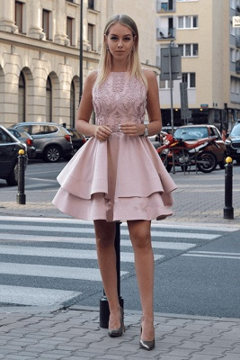 Lovely Pink Homecoming Dresses | 2020 Mini Layers Lace Short Dresses_2