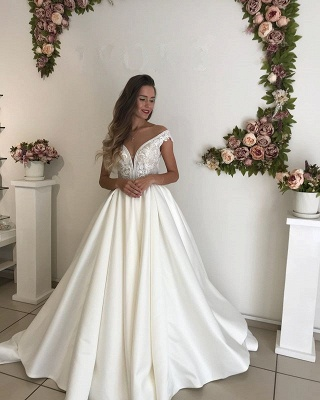 Glamorous Off-the-Shoulder 2020 Wedding Dresses | Satin Lace-up Bridal Gowns_2
