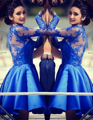 Modern Jewel Royal Blue Homecoming Dress Long Sleeve With Lace Appliques_1