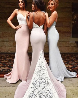 Gorgeous Mermaid Spaghetti Strap 2020 Bridesmaid Dress Lace On Sale th206_3