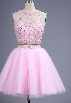 Hot Sale Pink two Pieces Short Prom Dress Beadings Tulle Homecoming Dress_3