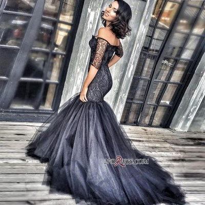 2020 Black New Court-Train Off-the-shoulder Tulle Half-Sleeves Lace Mermaid Evening Dresses BA3948 BK0_2