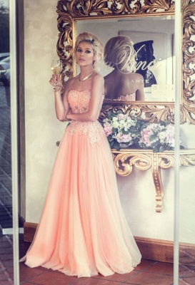 Appliques Long Lace Prom Dress Lovely Strapless Lace_2