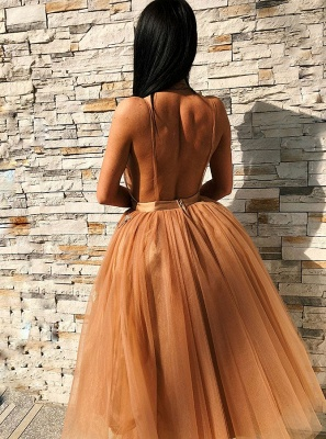 Chic V-Neck Sleeveless Homecoming Dresses | 2020 Tulle Short Prom Gowns BC0691_3