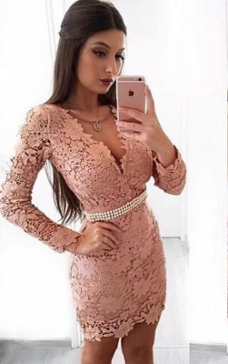 Beautiful Long Sleeve Homecoming Dress   2020 Mermaid Lace Short Party Dress With Pearls_1