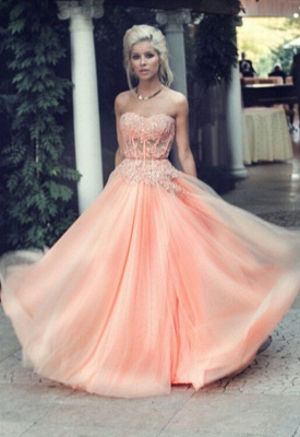 Appliques Long Lace Prom Dress Lovely Strapless Lace_5
