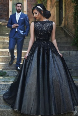 Elegant Sleeveless Tulle Black A-line Evening Dress Lace Appliques bo8949_1