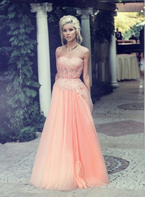 Appliques Long Lace Prom Dress Lovely Strapless Lace_4