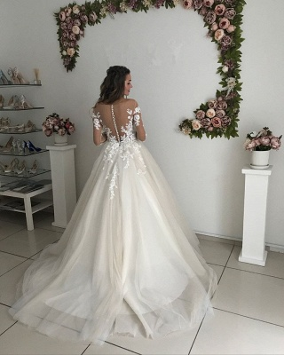 Gorgeous Long Sleeve Tulle Wedding Dresses | 2020 Zipper Button Back Bridal Gowns On Sale_3