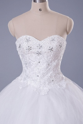 Modern Sweetheart Sleeveless Tulle Lace Wedding Dress With Beadings Lace-up_4