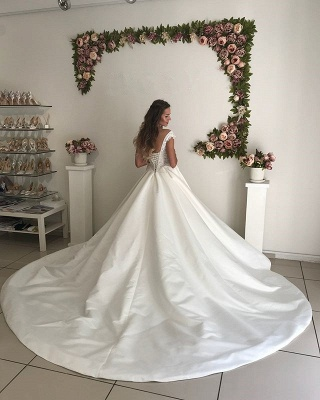 Glamorous Off-the-Shoulder 2020 Wedding Dresses | Satin Lace-up Bridal Gowns_3