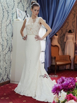Lace Sleeveless Gorgeous Zipper Mermaid Backless Wedding Dress_4