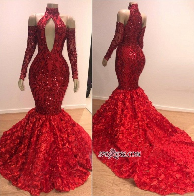 Sexy Red Long Sleeve Prom Dresses | 2020 Flowers Sequins Evening Gowns On Sale BC0767_2
